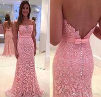 2019 Meerjungfrau Abendkleid Rosa Farbe Mit Spitze Backless Formal Holiday Wear Prom Party Kleid Nach Maß Plus Größe