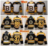 Herren Damen Jugend Boston Bruins Jersey Eishockey 37 Patrice Bergeron 63 Brad Marchand 88 David Pastrnak Damen Trikots Black Man Kids Children