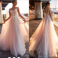 2020 해변 국가 레이스 Appliques 라인 웨딩 드레스 Sheer Scoop 넥 얇은 덮여 버튼 Tulle 긴 신부 웨딩 드레스 BA9808