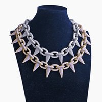 Gran remache del Mens del diseñador de joyería Collar de Hip Hop Rapper crudo de la cadena del diamante de Bling hacia fuera helado cadenas de moda de joyería de plata de oro Accesorios