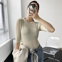 White Brief Knitting Sweater Loose Fit Round Neck Half Sleev...