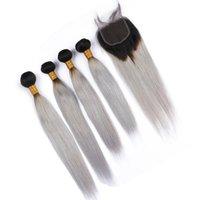 """Malaysian Ombre cinza prata Cabelo Humano Weave Pacotes e Encerramento Hetero # 1B Grey Ombre Virgin cabelo Lace Encerramento 4x4"""" com 4 feixes"""