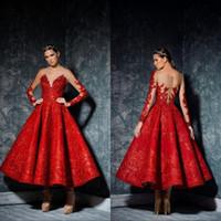 Une ligne Vestido thé longueur élégante robe de bal rouge ras du cou à manches longues en dentelle robe Party Robes de soirée Robes
