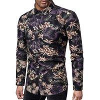 Camisa de vestir de los hombres Camisa de la flor de la moda Hombre Tops de manga larga Slim Fit Tamaño casual 5xl Bar Mens