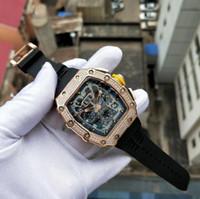 Super luxe usine or rose Mouvement Automatique Non Montre chronographe Mens Sport RM11-03 Montres bracelet en caoutchouc noir diamant Case
