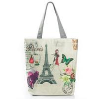 4a5d7c53827b good quality Canvas Design Women Beach Bag Paris Tower Printed Tote Handbag  Female Large Capacity Single Shoulder Girls