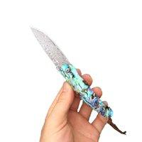 Fk-30 Fabrik-Verkauf-schöne handgemachte Damaskus-faltendes Messer Farbe Seashell-Handgriff Taschenmesser mit Damaskus Mustern Camping-Messer