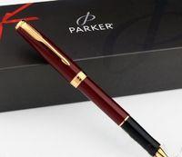 شحن مجاني باركر السوناتة الذهب الأحمر الأسطوانة القلم متوسط طرف مستدق 0.5mm والتوقيع حبر القلم هدية الكتابة مدرسة القلم الموردون مكتبية