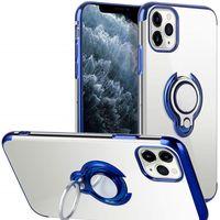 Chapeamento a caixa do telefone para o iPhone 11 Pro MAX XS XR X 8 Plus Titular Dedo Magnetic Anel claro transparente Ultrafino Tampa Coque