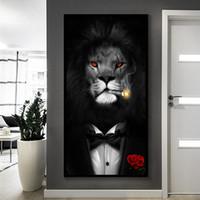 Lion Home Decor Pintura a óleo sobre Canvas Handpainted / HD-Print Wall Art Customization é aceitável 21052336