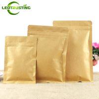 Leotrusting 100 adet / grup Açılıp Kapanabilir Düz Alt Kraft Kağıt Kilitli Ambalaj Çanta Kağıt Zip Kese Kahve Tozu Hediye Kağıt Saklama Torbaları