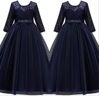 Zarif Dantel Bir Çizgi Çiçek Kız Elbise 2019 Uzun Kollu Tül Bow Kanat Kat Uzunluk Kızların Doğum Günü Partisi Prenses Elbiseler Ucuz MC1966