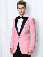Groom Tuxedos Groomsmen Peak Lapel Pink Custom Made Men Suit...