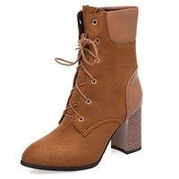 الربيع فصل الشتاء سميكة كعب الغربية قصيرة أحذية كبيرة الحجم 33-50 أحذية بنات فارس أحذية مارتن الأحذية جبهة ربط الحذاء حتى السيدات المرأة T9-1