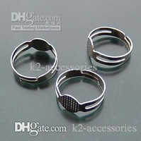 100pcs/lot $4 silver tone Blank Adjustable DIY Ring Base Glue-on JEWELRY 18mm Free Shipping