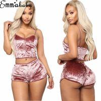 Las mujeres del terciopelo atractivo de dos piezas de la ropa interior de la cosecha top + shorts ropa de noche del cordón de la ropa interior ropa de dormir pijamas Chemise Establece Negro Rosa Gris