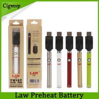 Аутентичные закона предварительно нагревая батарея с нижней кнопкой Twist 380mah Slim EGO Vape Pen Peen Vavorizer напряжения для густого масла