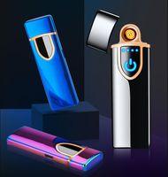 Neue dünne usb lade leichter touchscreen elektronische zigarette feuerzeuge kleine wiederaufladbare elektrische leichter winddicht männer geschenk 12 farben