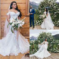 2020 PLUS Taille Robes de mariée Sirène Off-épaule pleine dentelle appliquée robe de mariée backles balayer train personnalisé fait vestidos de novia