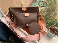 HOT 2 pezzi sacchetti di modo delle donne stabilite crossbody Borse a mano borsa di pelle designer sacchetto di spalla delle donne borsa della moneta di tre zdrew M44813