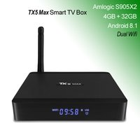 TX5 Max Android TV Box Amlogic S905X2 Quad Core Bluetooth Smart Android8.1 TVbox con display WiFi Antenna 4G LPDDR4 32GB 4K Media Player