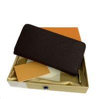 Moda mujer de alta calidad embrague cartera de cuero solo cremallera carteras señora señoras largo clásico bolso largo con caja de caja naranja 60017