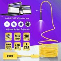 Wi-Fi del endoscopio de la cámara HD 1200P impermeable Inspección boroscopio 8mm 8LED suave duro del cable Semi tubo rígido inalámbrico negro Endoscopia amarillo