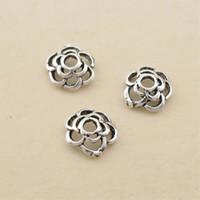 6mm Hollow Camellia Flor Metales sueltos Beads S925 Sterling Silver Plateado DIY Flower Colgante Pulsera Collar Joyería Accesorios de Moda