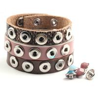 10ps / lot tasto a schiocco in pelle di mucca braccialetti dei braccialetti multicolori di alta qualità Bracciali per le donne 12 millimetri di interscambio Snap pulsante gioielli