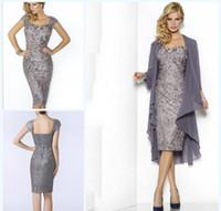 2021 gris elegante amor madres vestidos de rodilla longitud funda de encaje madre de la novia vestidos de novio con chaqueta vestidos mamás