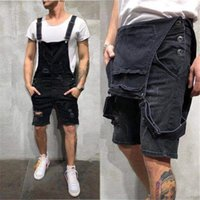 Designer Mens Jean Overalls Summer Fashion Holes Skinny Jean Shorts Plus Size Work Pants