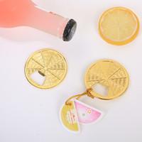 50PCS Citrus rebanada Botella Oro abridor de favores de la boda del partido de ducha de oro temáticas sector de limón metal cerveza Abridores nupcial suministros de envío GRATIS