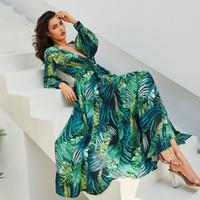 V baskı ile çiçek baskı maxi şifon elbise bedruckten Kleid Nedime elbisesi Rahat Prova yemeği romantik rustik elbise robe