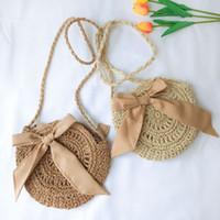 Straw bowknot bandoulière sac été Bohème en plein air voyage plage sac à main voyage sac à bandoulière mode téléphone pièce sacs 1 pc FFA2063