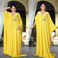 2022 Dubai Kaftan Robe Abaya Abiye Uzun Kollu Orta Doğu Tarzı Boncuklu Parti Giymek Örgün Arapça Balo Abiye