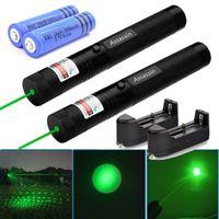 2PACK 교육 303 녹색 레이저 펜 포인터의 532nm 100Mile 강력한하기 Lazer 펜 2IN1 스타 캡 + 18650 배터리 + 충전기 굽기