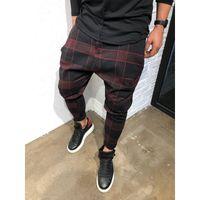 ZOGAA casual tela escocesa pantalones del tobillo de longitud Hombres Pantalones Hip Hop del basculador de los pantalones de los hombres de la calle pantalón japonesa desgaste 2019 Nuevo