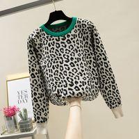 MUMUZI mulheres crewneck camisola pullover leopardo malha blusas 2019 moda inverno manga longa casuais hit cor jumpers LY191213