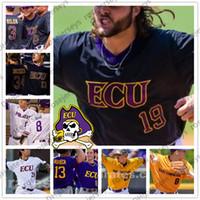 ECU East Carolina Pirati # 14 Jake Agnos 18 Bryant Packard 19 Alec Burleson 42 Spencer Brickhouse Purple Bianco Bianco Black Giallo Baseball Jersey
