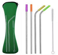 Stainless Steel Straws Sets 6pcs Set Bag Colorful Metal Stra...