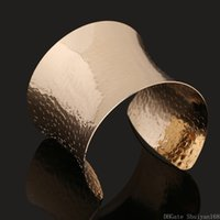 Винтажные открытые браслеты панк золота цвет европа широкая манжета браслеты металлические волна манжеты коренастый браслет для женщин девушки ювелирные изделия рождественские подарок