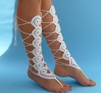All-pamuk Crochet ayak zinciri örme ayak Tığ Tozluklar yüz pamuklu Crochet ayakkabı yalınayak botları