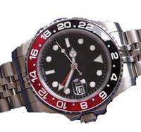 送料無料40mm自動男性腕時計回転式黒と赤のベゼル腕時計メンズ腕時計ステンレス鋼のジュビリーブレスレット