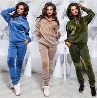 2019 Yeni Kadın aktif seti eşofman Hoodies Kazak + Pant survetement femme giyim setleri koşu Spor Pist giysiler 2 Adet Koşu