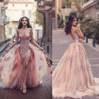 Modest Erröten Rosa Spitze Floral Prom Pageant Kleider mit abnehmbarem Zug Sexy Split V-Ausschnitt Dubai Arabisch Princess Occasion Abendkleid
