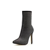 وأشار حار بيع المرأة الجوارب الشتاء حجر الراين لامعة الجانب الزخرفي سحاب 11.5CM أحذية عالية الكعب الأزياء والأحذية المريحة النساء
