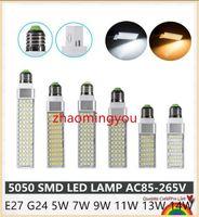 Lâmpada LED E27 G24 Milho Bulbo 5W 7W 9W 11W 13W 14W Bombillas Luz LED SMD 5050 Spotlight 180 graus AC85-265V LAMPADA DE LED