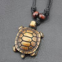 Vente chaude imitation tortue collier pendentif charme Carve Pendentifs os Hommes perles en bois Cordes Collier Simulation Turtles N015