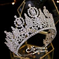 Miss Universe Big Crown Mariage Crystal Crystal Headdress Coiffure Czétraitte Cz Tiara Bijoux ne décolore pas d'autres