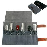 Véritable Cuir Coiffeur Professionnel Barber Scissor Pochette Cas Salon De Coiffure Ciseaux Outil Étui Pliant Sac 12 Poches T190706